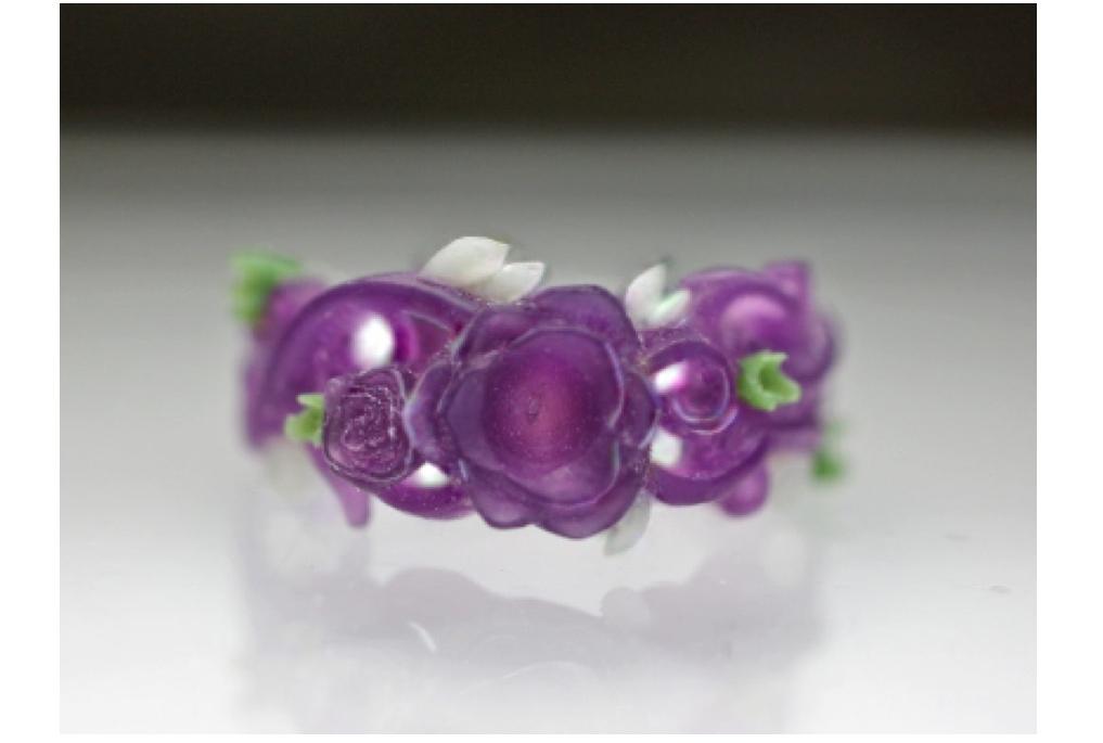 バラの婚約指輪 原型模型 正面