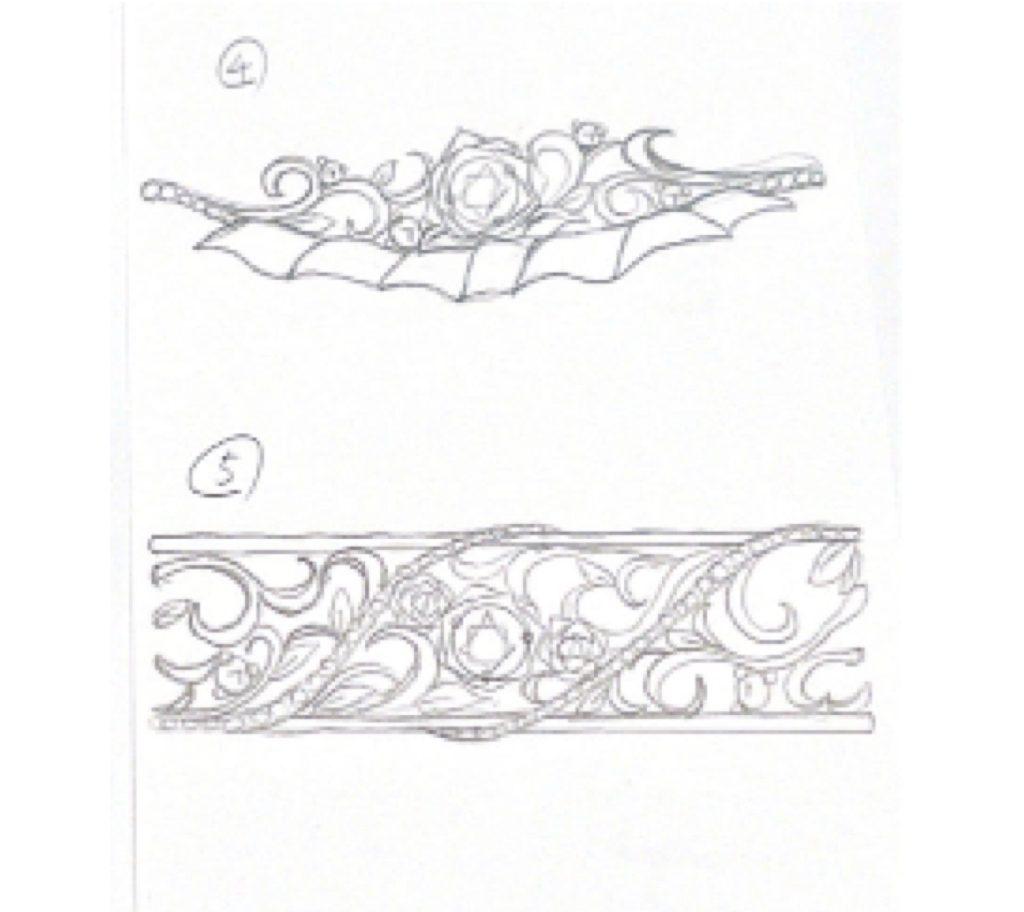 バラな婚約指輪のラフ画 2
