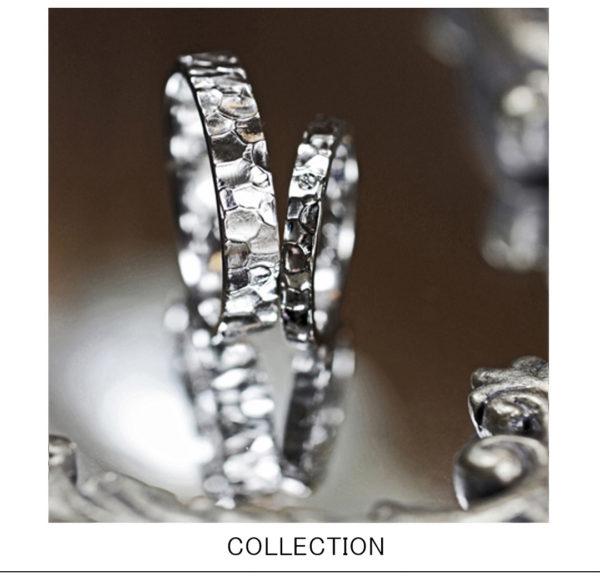 アイス・氷の表面をツチメでデザインした結婚指輪