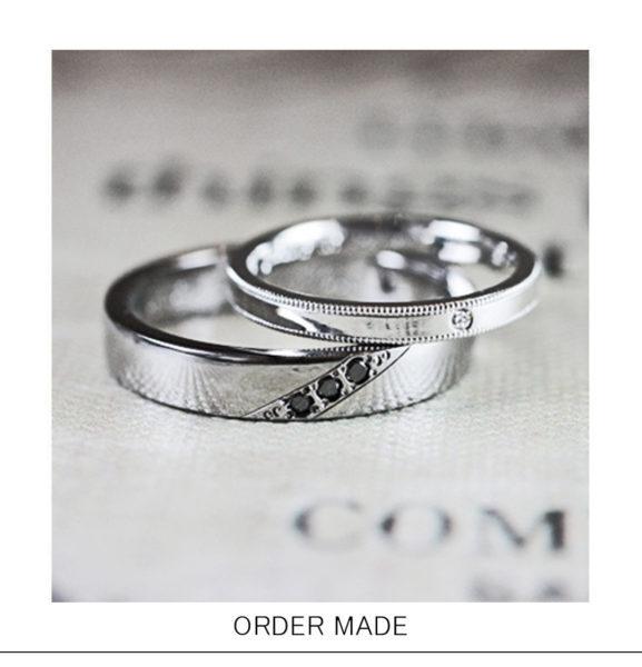 【ブラックダイヤ】とグレーゴールドのメンズ 結婚指輪オーダー作品