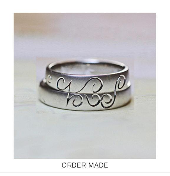 結婚指輪を重ねて【イニシャルとハート】柄をつくるオーダー作品