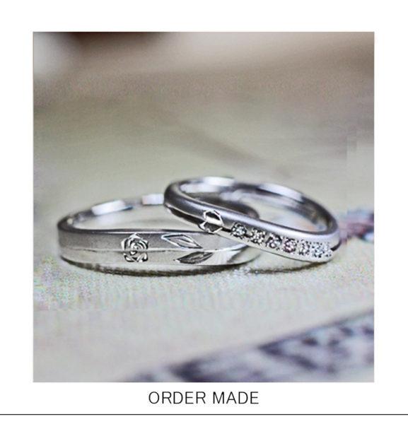 【バラの模様】をオシャレにデザインした結婚指輪オーダーメイド作品