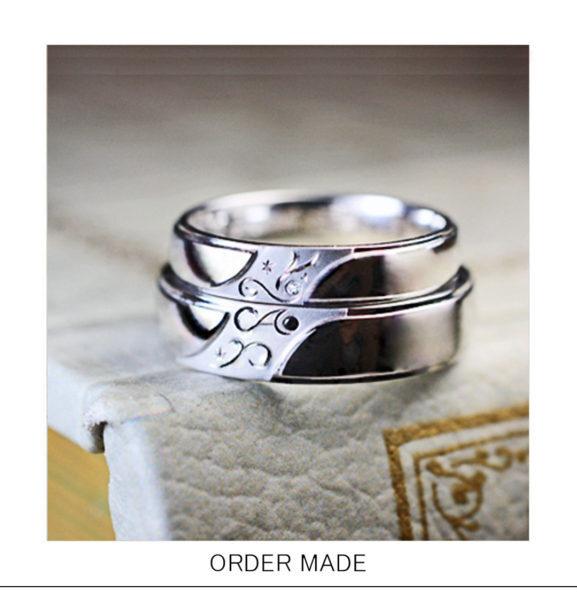 結婚指輪の【イニシャル】を重ねて【ハートをつくる】オーダー作品