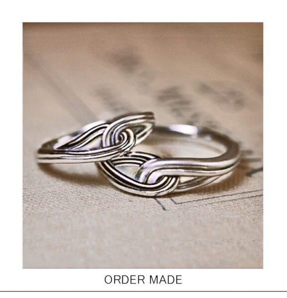 【結んだリボン】をデザインした個性的な結婚指輪オーダー作品