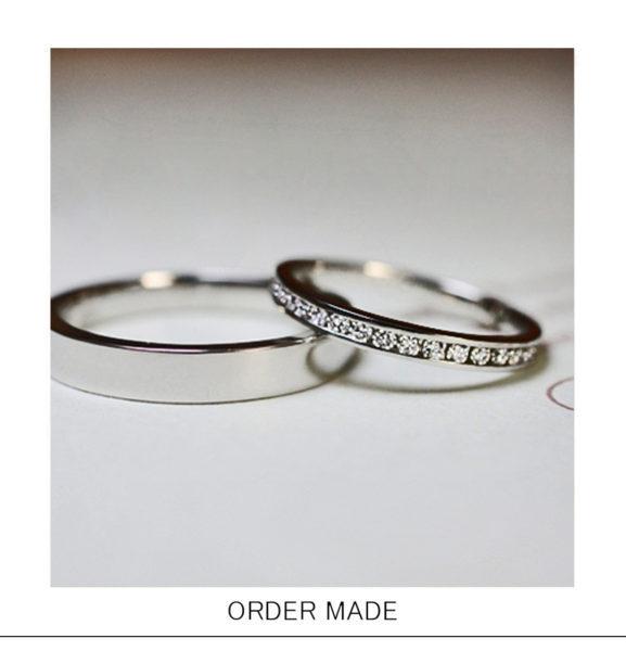 ダイヤをレールに並べた爪のない【エタ二ティ】結婚指輪オーダー作品
