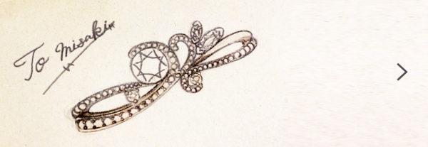 豪華にダイヤモンドをデコレーションした シャンデリアの婚約指輪のデザイン画