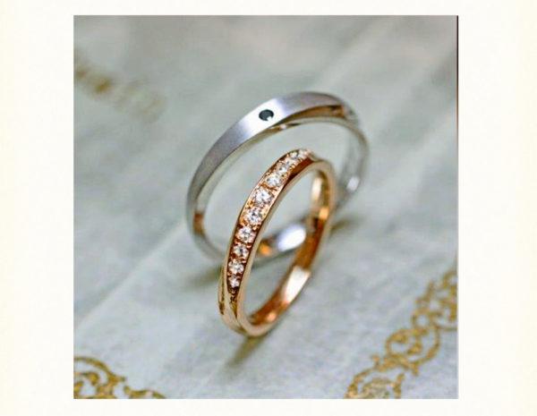 明るいピンクゴールドのエタニティマリッジ(結婚指輪)