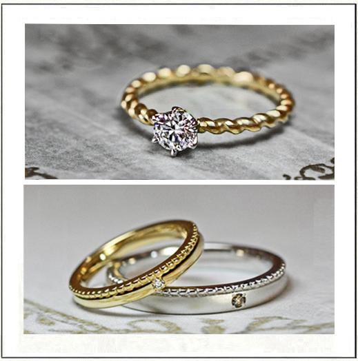 アンティークゴールド色の結婚指輪と婚約指輪のセットリング