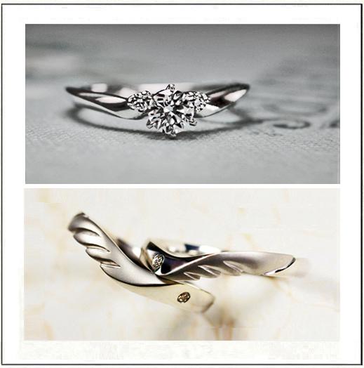 天使デザインの婚約指輪と結婚指輪アレンジする