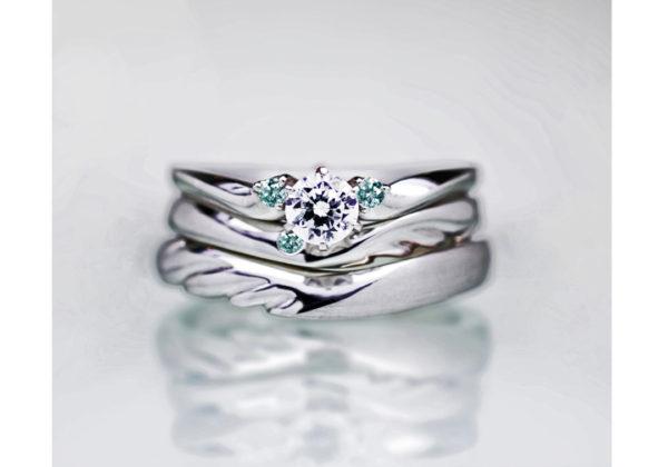ティンカーベル・天使の羽をデザインした結婚指輪&婚約指輪のセットリング
