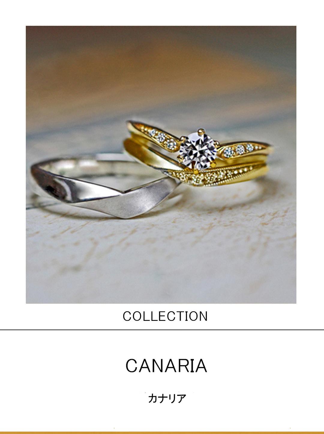 指にとまったカナリアのゴールドの婚約指輪と結婚指輪セットリングのサムネイル