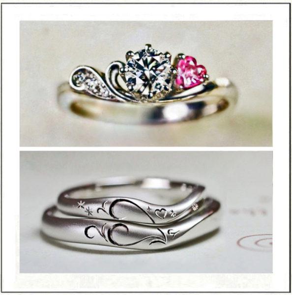 ピンクのハートがデザインされた婚約指輪と結婚指輪のセットリング
