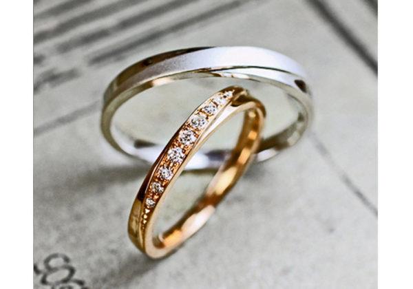 オリーブをデザインしたピンクゴールドの結婚指輪オーダーメイド