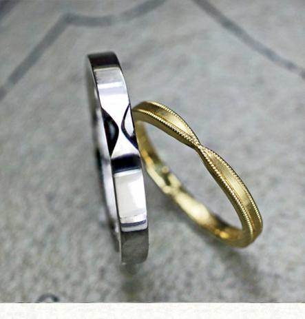 リボンのデザインでプラチナとゴールドの結婚指輪をオーダーした作品