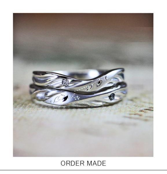 【天使の羽】と【サクラ模様】が舞う結婚指輪のオーダーメイド作品