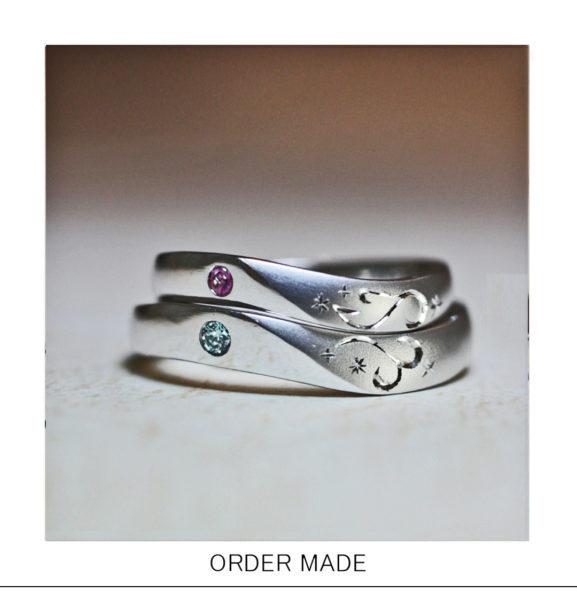 【イニシャルT&T】を重ねて【ハートを作る】結婚指輪オーダー作品