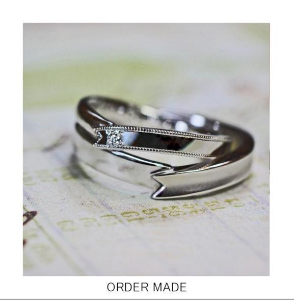 結婚指輪を【プレゼントリボン】の様にオーダーデザインした作品