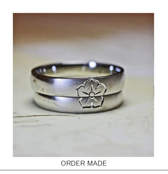 結婚指輪2本で【桔梗の家紋】をつくったご住職のオーダーメイド作品
