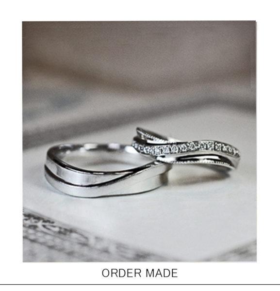 ダイヤラインをウェーブさせた【エタニティ】の結婚指輪オーダー作品