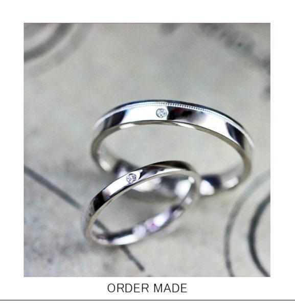 【ミルラインが一周入った】ベーシックなデザインのオーダー結婚指輪