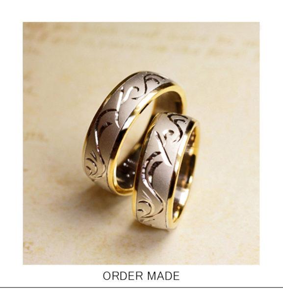 【イニシャルとハワイアン模様】のコンビカラー結婚指輪オーダー作品