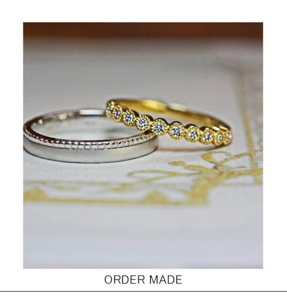 ダイヤを【ミルグレイン】で囲んだゴールドエタニティの結婚指輪