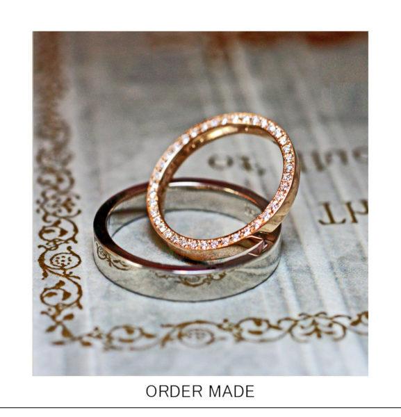 【結婚指輪の横にエタニティ】デザインしたピンクGのオーダー作品