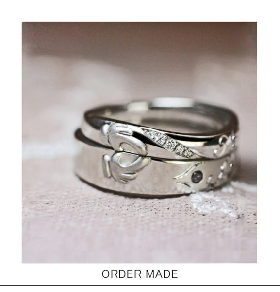 結婚指輪を重ねると【指ハート】が出来上がるオーダーメイド作品