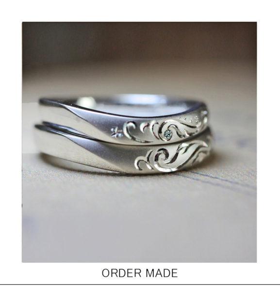 【天使の羽】がトライバル柄デザインで入った結婚指輪オーダー作品