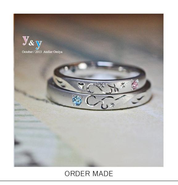 結婚指輪を重ねて【イニシャルとハート模様】をつくるオーダー作品