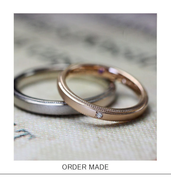 【アンティーク】な【ピンクゴールド】のシンプルなオーダー結婚指輪