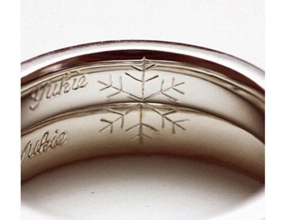 結婚指輪内側に雪の結晶模様を入れた作品が完成