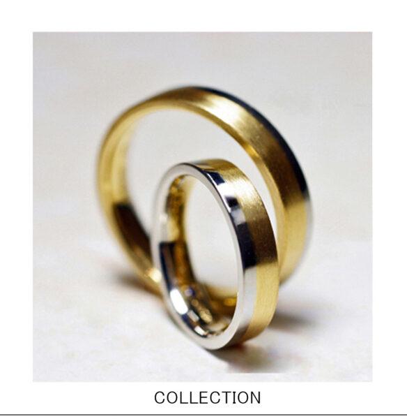 ゴールドとグレーゴールドを組み合わせた結婚指輪コンビリング