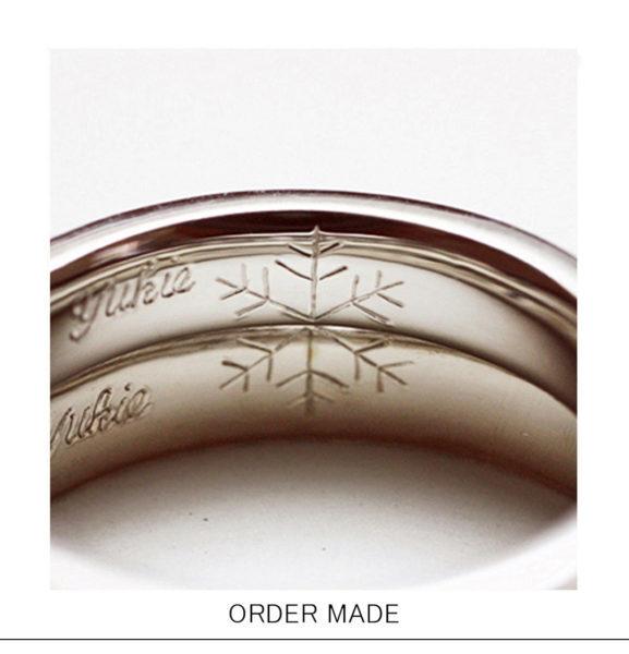 2本重ねて雪の結晶を【結婚指輪内側に刻印】したオーダーメイド作品