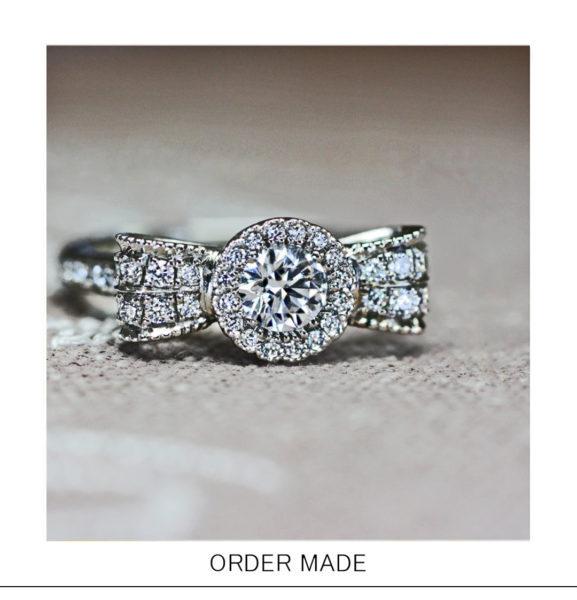 【花のリボン】をデザインした華やかなダイヤの婚約指輪オーダー作品