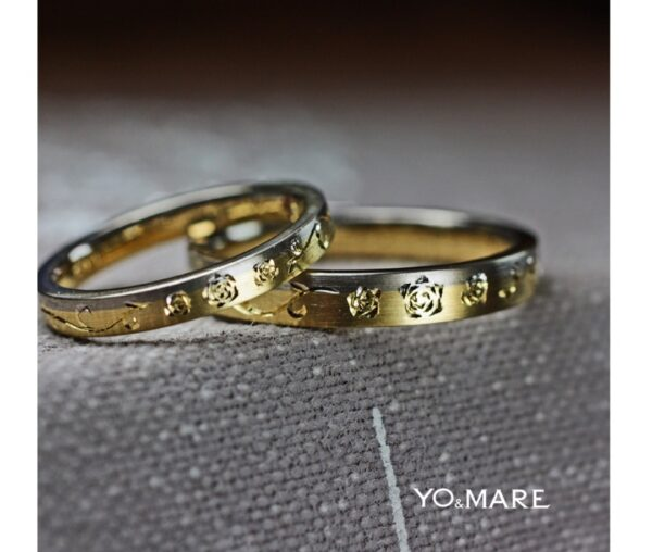 リング表面にバラの手彫り画を入れた結婚指輪オーダー作品