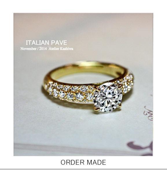 【ゴールドの婚約指輪】にメレダイヤを43個使った豪華なオーダー作品
