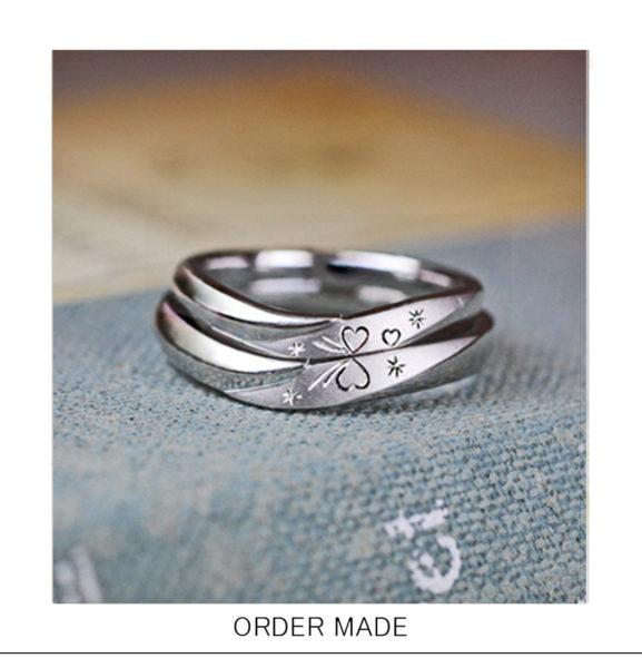 ハートリボン・リングを重ねてふたりの模様をつくる 結婚指輪オーダーリング
