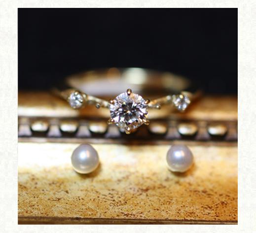 ダイヤモンドと真珠が寄り添う アンティークなゴールドの婚約指輪製作 千葉・柏 ヨーアンドマーレ
