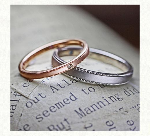 ワインカラー&グレーカラーのゴールド結婚指輪オーダーメイド