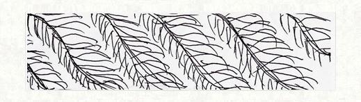 お客様が描いたミモザの葉脈模様のデザイン画