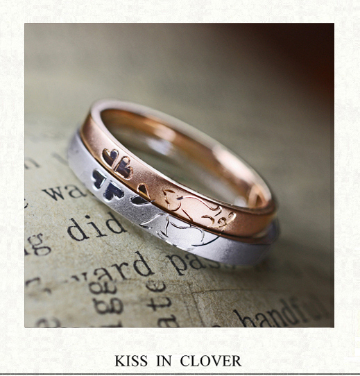【ネコ&クローバー】ピンクゴールド&P tの結婚指輪オーダー作品