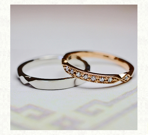 ピンクゴールドのダイヤモンド結婚指輪・ダイヤモンドロゼ 千葉・柏 ヨーアンドマーレ
