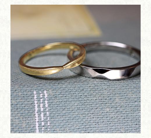アンティークイエローのリボンと ホワイトリボンの結婚指輪 2 千葉・柏 ヨー&マーレ