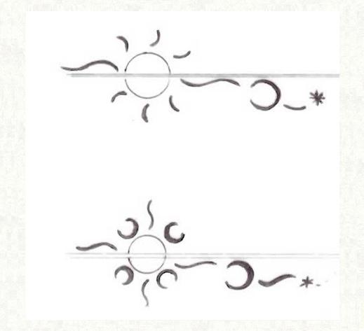 結婚指輪の内側でつくった太陽のデザイン画2 千葉・柏 ヨー&マーレ