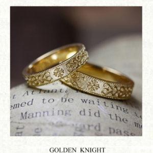 アート【模様】をゴールドの結婚指輪に浮柄デザインしたオーダー作品
