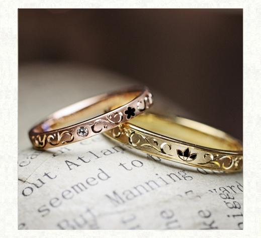 結婚指輪をイニシャルの模様にデザインする