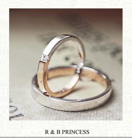 【ピンク&プラチナのカラーコンビ】と四角いダイヤの結婚指輪作品
