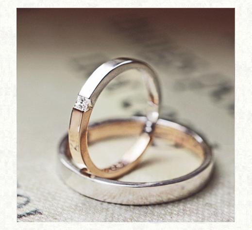ピンクゴールドとプラチナの ハーフ&ハーフの結婚指輪1|千葉・柏 ヨー&マーレ