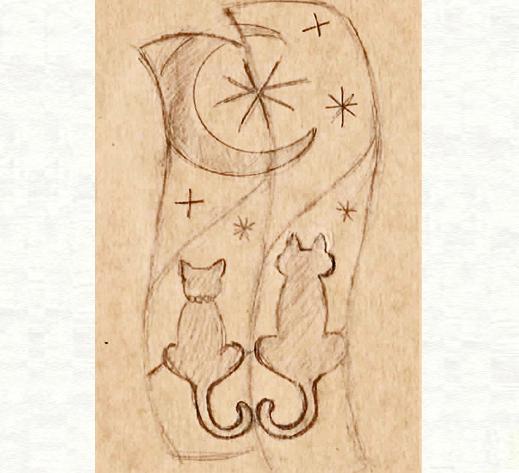 2本の結婚指輪に夜空の月が浮かぶ ネコのカップルのリングのデザイン画1・千葉・柏 ヨー&マーレ